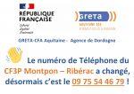 Nouveau numéro de téléphone pour les Centres de formation de Montpon & Ribérac