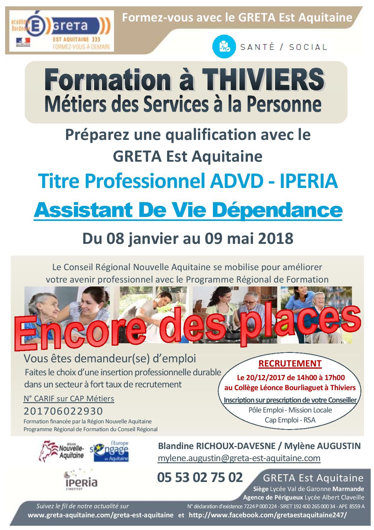 Recrutement Formation Advd Assistant E De Vie Dependance A Thiviers