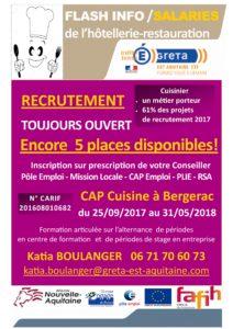 Encore 5 Places Pour Le Cap Cuisine A Bergerac Reseau